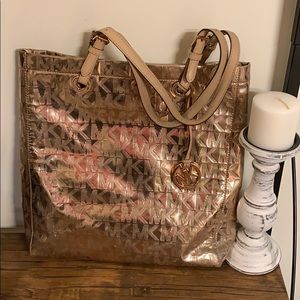 Michael kors gold shiny signature tote READ